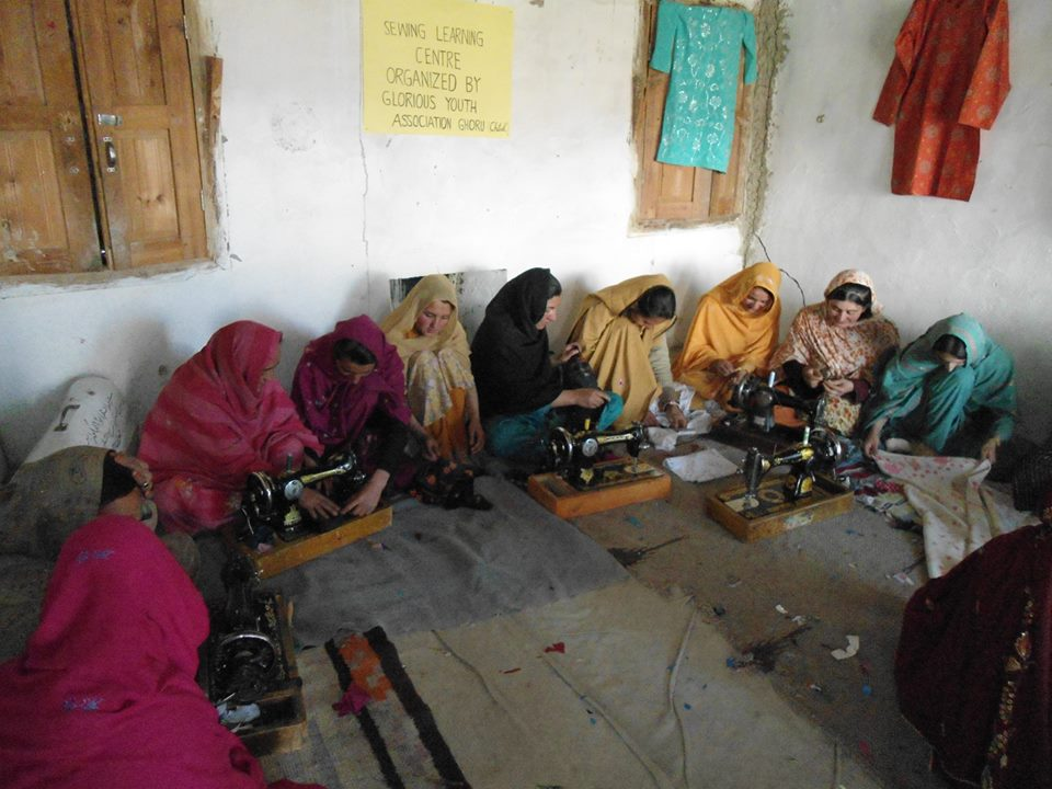 Sewing training in progess